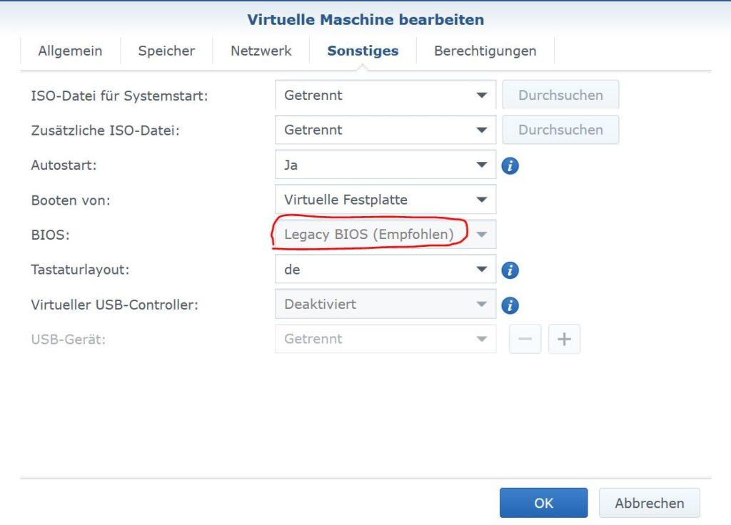 Synology VMM BIOS Einstellung VM